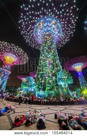 Singapore - June 25, 2016:  People watching light show at Supertree Grove at Gardens by the Bay in Singapore
