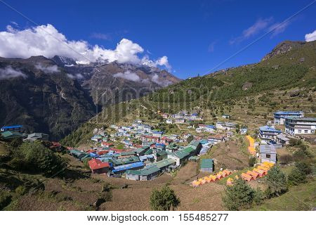 View on Namche Bazar in sunny day, Khumbu district, Nepal. No retouch.