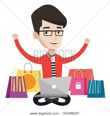 Caucasian man with hands up using laptop for shopping online. Customer sitting with shopping bags around him. Man doing online shopping. Vector flat design illustration isolated on white background.