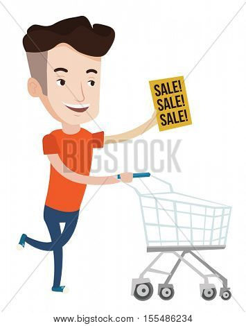 Caucasian man running on big sale. Man holding paper sheet with sale text. Man with empty shopping trolley running to the store on sale. Vector flat design illustration isolated on white background.