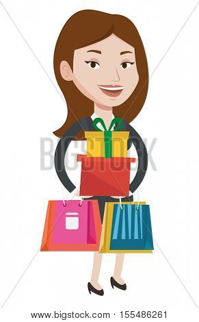Woman holding shopping bags and gift boxes. Caucasian woman carrying shopping bags and boxes. Girl standing with a lot of shopping bags. Vector flat design illustration isolated on white background.