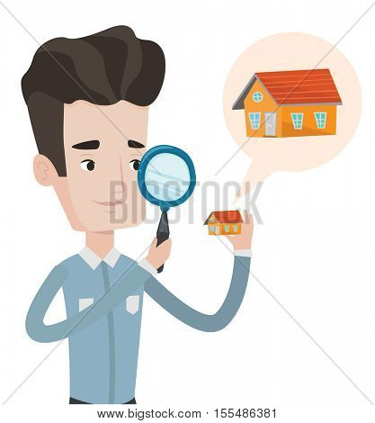 Young caucasian man looking for a new house in real estate market. Man using magnifying glass for seeking a house in real estate market. Vector flat design illustration isolated on white background.