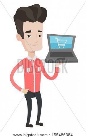 Caucasian man using laptop for shopping online. Male customer holding laptop with shopping trolley on a screen. Man doing online shopping. Vector flat design illustration isolated on white background.