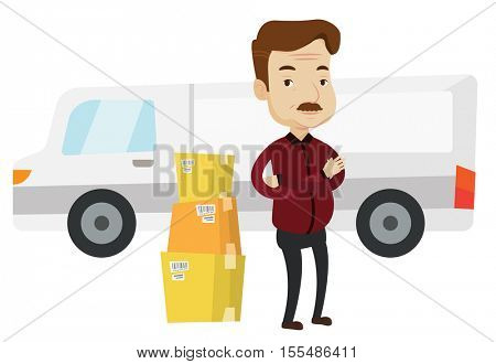 Delivery man standing in front of truck. Homeowner unloading cardboard boxes from delivery truck. Caucasian worker of delivery service. Vector flat design illustration isolated on white background.
