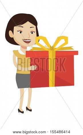 Joyful caucasian woman holding a box with gifts in hands. Woman holding gift box. Young woman standing with gift box. Woman buying a gift. Vector flat design illustration isolated on white background.