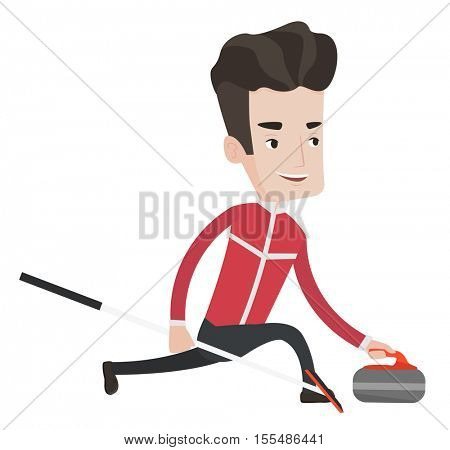 Happy curling player playing curling on a curling rink. Caucasian curling player delivering a stone. Curling player sliding over the ice. Vector flat design illustration isolated on white background.