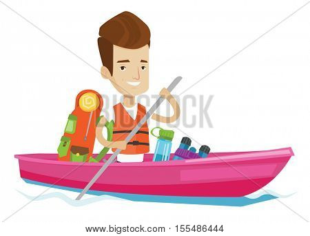 Kayaker riding in kayak on the river with skull in hands and some tourist equipment behind him. Happy caucasian kayaker traveling by kayak. Vector flat design illustration isolated on white background