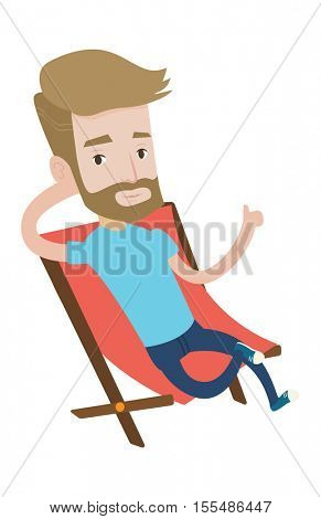 Hipster tourist sitting in folding chair and giving thumb up. Caucasian tourist relaxing in folding chair. Tourist resting in folding chair. Vector flat design illustration isolated on background.