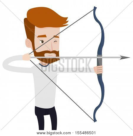 Young caucasian sportsman practicing in archery. Hipster archery player training with the bow. Archery player aiming with a bow in hands. Vector flat design illustration isolated on white background.