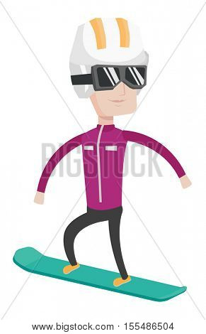 Caucasian snowboarder snowboarding. Snowboarder on piste in mountains. Young snowboarder snowboarding in the mountains. Vector flat design illustration isolated on white background.