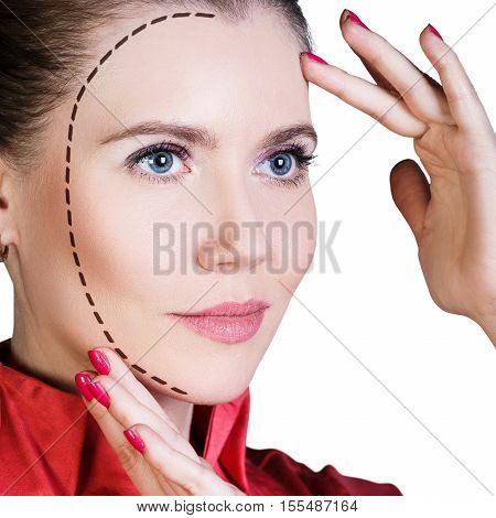 Beautiful woman with arrows on her face. Lifting and make-up concept.