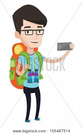 Hiking caucasian tourist taking selfie. Tourist with backpack and binoculars taking selfie with cellphone. Happy tourist taking selfie. Vector flat design illustration isolated on white background.