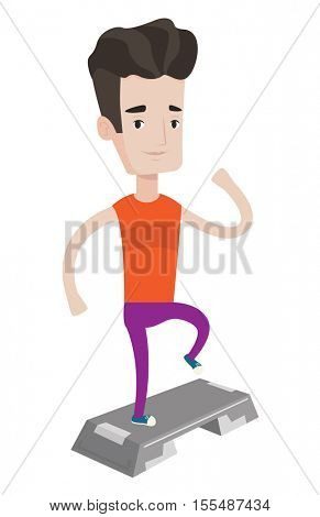 Young man doing step exercises. Caucasian man training with stepper. Sporty man working out with stepper. Sportsman standing on stepper. Vector flat design illustration isolated on white background.