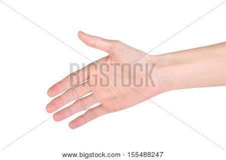 Shaking hand isolated on white background. Clipping path.