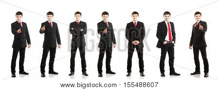 Young and confident business man. Businessman in suit isolated on white.  Set collection.