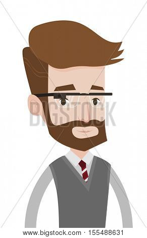 A hipster man with the beard wearing wearable computer with an optical head-mounted display. Young caucasian man in wearable computer. Vector flat design illustration isolated on white background.