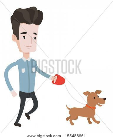 Young man with his dog. Happy man taking dog on walk. Caucasian man walking with his small dog. Smiling man walking a dog on leash. Vector flat design illustration isolated on white background.