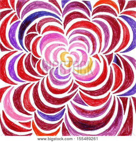 drawn with colored pencils pattern of diverging from the center of the petals