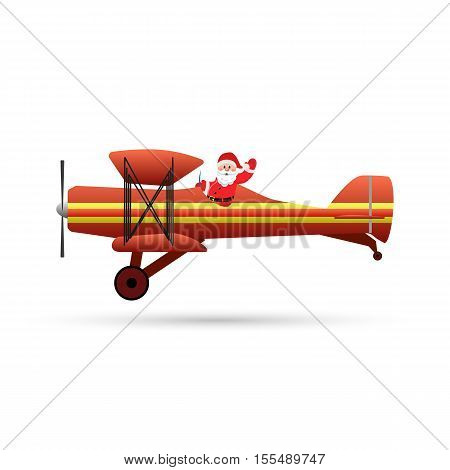 Santa Claus flyght on airplane Isolated on White Background. vector illustration