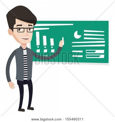 Teacher standing in classroom. Teacher standing in front of the blackboard with a piece of chalk in hand. Teacher writing on a chalkboard. Vector flat design illustration isolated on white background.