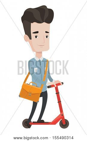 Young caucasian man riding a kick scooter. Businessman with briefcase riding to work on kick scooter. Businessman on a kick scooter. Vector flat design illustration isolated on white background.