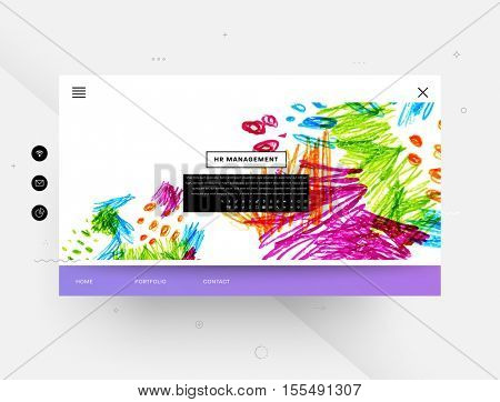 Website template with abstract watercolor elements for business designs and backgrounds.