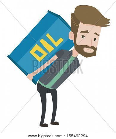 Hipster man with beard carrying an oil barrel on his back. Sad man walking with oil barrel on his back. Upset man holding heavy oil barrel. Vector flat design illustration isolated on white background
