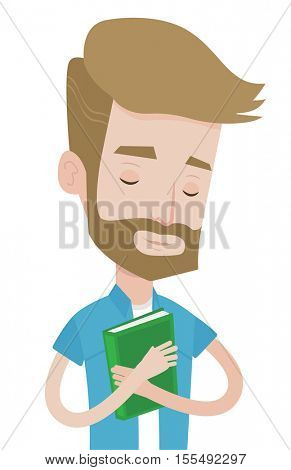 Student hugging his book. Happy joyful student likes read books. Peaceful student with eyes closed holding a book. Concept of education. Vector flat design illustration isolated on white background.