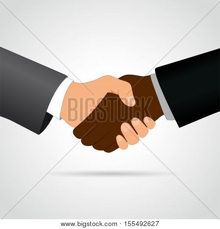 Illustration of interracial handshake concept on white background
