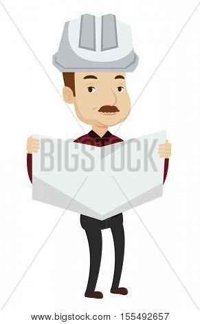 Caucasian engineer in helmet watching a blueprint. An adult engineer with engineer blueprint. An engineer in hard hat holding a blueprint. Vector flat design illustration isolated on white background.