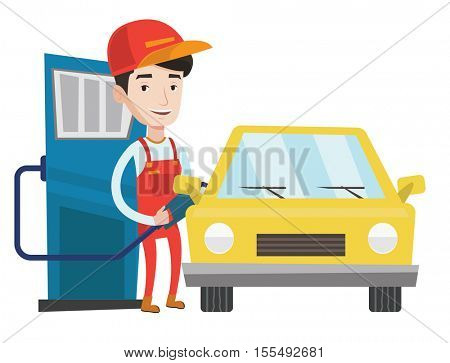 Gas station worker filling up fuel into car. Smiling worker in workwear at the gas station. Caucasian gas station worker refueling a car. Vector flat design illustration isolated on white background.