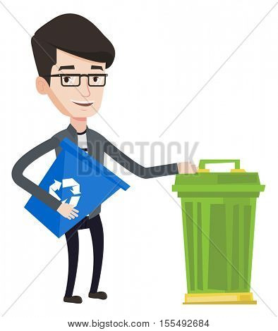 Young man carrying recycling bin. Caucasian happy man holding recycling bin while standing near a trash can. Waste recycling concept. Vector flat design illustration isolated on white background.