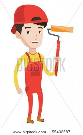 Joyful painter in uniform holding a paint roller in hands. Young cheerful painter at work. Smiling painter standing with paint roller. Vector flat design illustration isolated on white background.