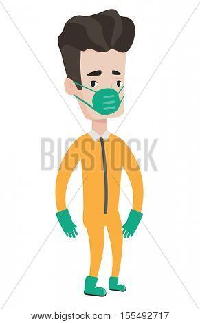 Scientist in gas mask and radiation protective suit. Scientist wearing a radiation protection suit. Caucasian scientist in protective suit. Vector flat design illustration isolated on white background