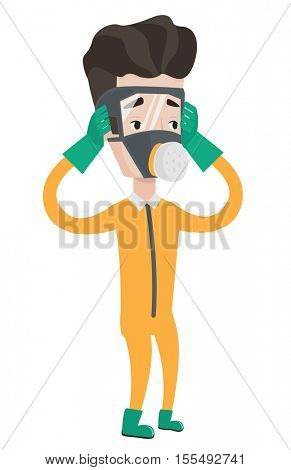 Scientist wearing radiation protective suit. Scientist in protective suit clutching head. Scientist in protective suit and respirator. Vector flat design illustration isolated on white background.