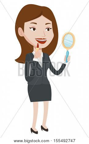 Woman doing makeup and looking in hand-mirror. Woman rouge lips with red color lipstick. Woman paints her lips. Woman applying lips makeup. Vector flat design illustration isolated on white background