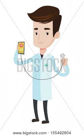 Doctor holding smartphone with application for measuring heart rate pulse. Caucasian doctor showing app for checking heart rate pulse. Vector flat design illustration isolated on white background.