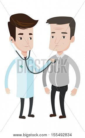 Doctor listening to chest of patient with stethoscope. Patient visiting doctor for chest examination. Doctor examining chest of patient. Vector flat design illustration isolated on white background.
