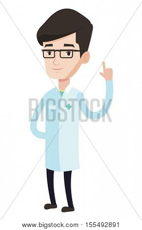 Friendly doctor in medical gown showing finger up. Young caucasian doctor with finger up. Man in doctor uniform pointing finger up. Vector flat design illustration isolated on white background.