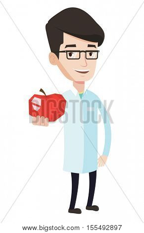 Young caucasian nutritionist prescribing diet and healthy eating. Nutritionist holding an apple. Nutritionist offering fresh red apple. Vector flat design illustration isolated on white background.