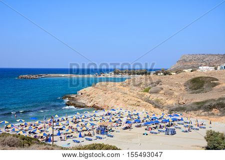 SISSI, CRETE - SEPTEMBER 14, 2016 - Elevated view of Boufos beach and the coastline Sissi Crete Europe, September 14, 2016.