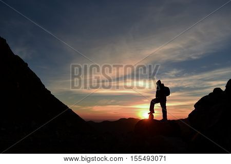 time for the sunrise at the summit & only man on the summit