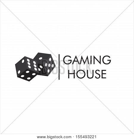 The emblem or logo of the casino gambling house with the image of black playing dice. Vector illustration.