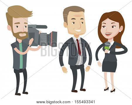 Professional reporter with microphone interviews a man. Hipster operator filming interview. Journalist making interview with businessman. Vector flat design illustration isolated on white background.