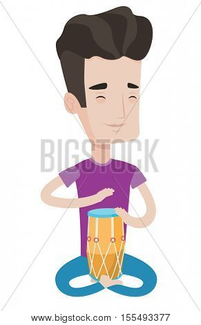 Young pleased man with eyes closed playing ethnic drum. Caucasian mucisian playing ethnic drum. Mucisian playing ethnic music on tom-tom. Vector flat design illustration isolated on white background.