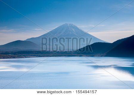 Mountain Fuji fujisan at Motosu lakeYamanashi Japan