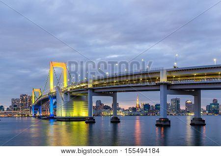 Tokyo landmarksTwillight Tokyo Rainbow bridge in Japan