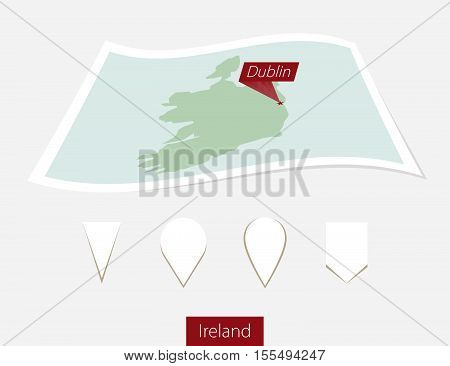 Curved Paper Map Of Ireland With Capital Dublin On Gray Background. Four Different Map Pin Set.