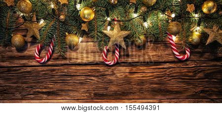Christmas decoration placed on wooden planks. Copyspace for text
