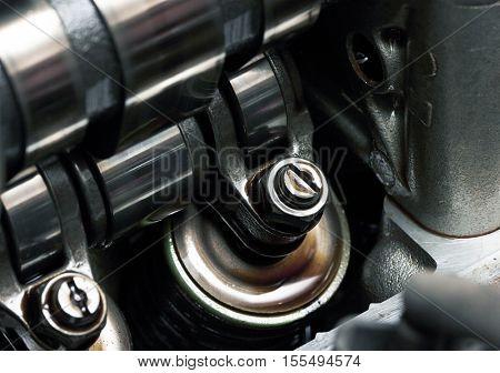 Car Engine inside view close up